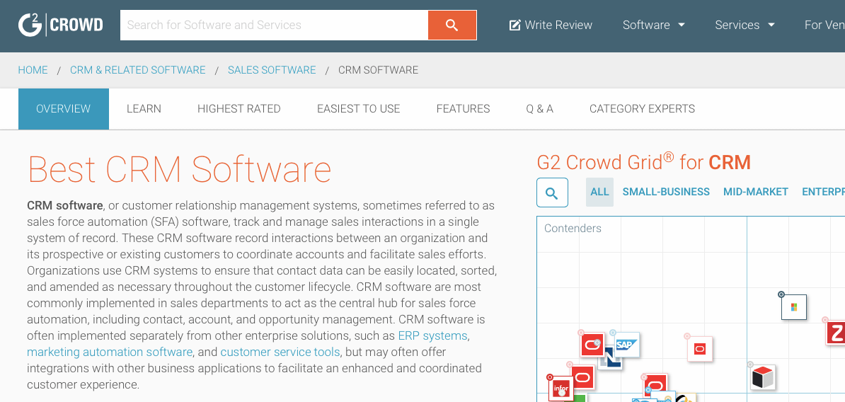 G2 Crowd CRM Software Reviews
